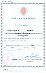 Certificate of Incorporation, BCStechBD Ltd